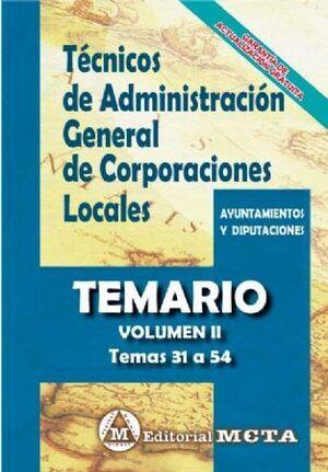 TEMARIO II TÉCNICOS ADMINISTRACIÓN GENERAL CORPORACIONES LOCALES TEMARIO VOL 2