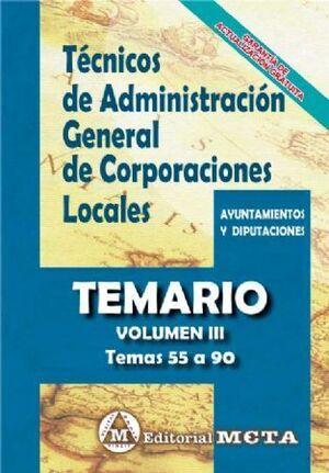TEMARIO III TÉCNICOS ADMINISTRACIÓN GENERAL CORPORACIONES LOCALES TEMARIO VOL 3